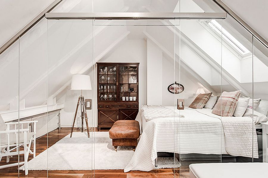 Scandinavian Bedroom Furniture.  Stunning attic bedroom with glass walls Explore this apartment 36 Relaxing and Chic Scandinavian Bedroom Designs