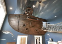 Stunning kids' room design with custom pirate ship, bridge and a whole lot more!