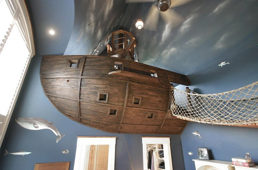 Stunning kids' room design with custom pirate ship, bridge and a whole lot more! [Design: Kuhl Design Build]