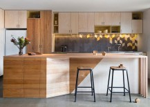 Subtle use of bright lemon accents in the contemporary kitchen