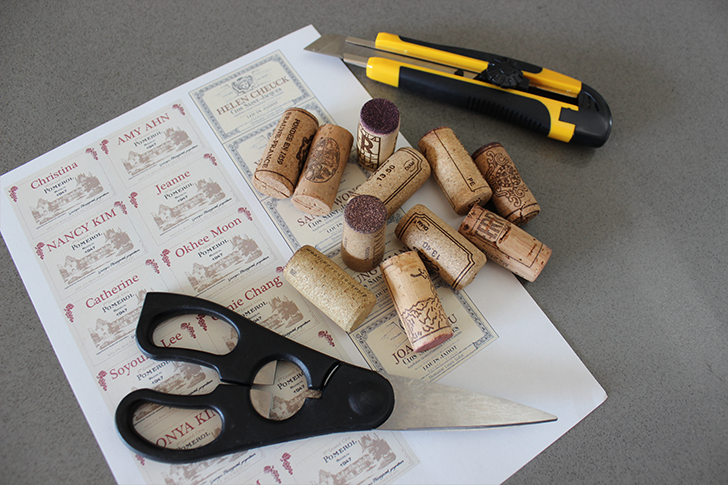 Supplies for Wine Cork Placecard Holders