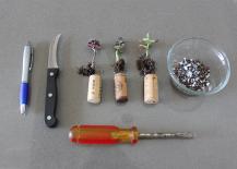 Supplies for wine cork planter DIY
