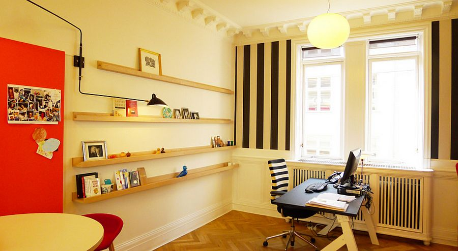 Think beyond white for the Scandinavian home office