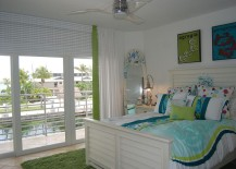 Touch of green and blue in the tropical bedroom