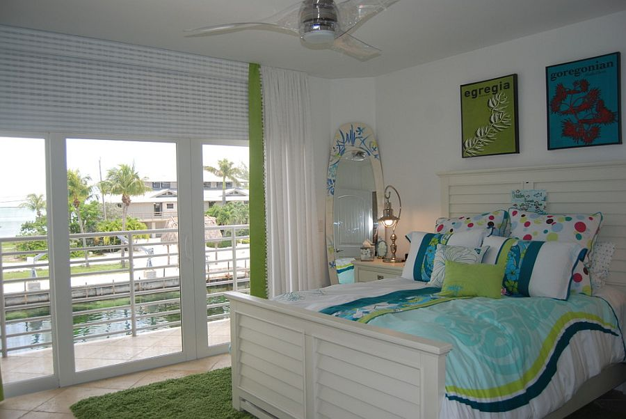touch of green and blue in the tropical bedroom design causa design group