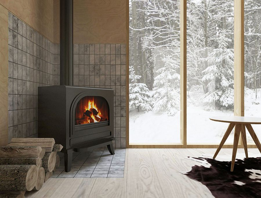 Traditional corner fireplace keeps the interior warm and toasty fresh!