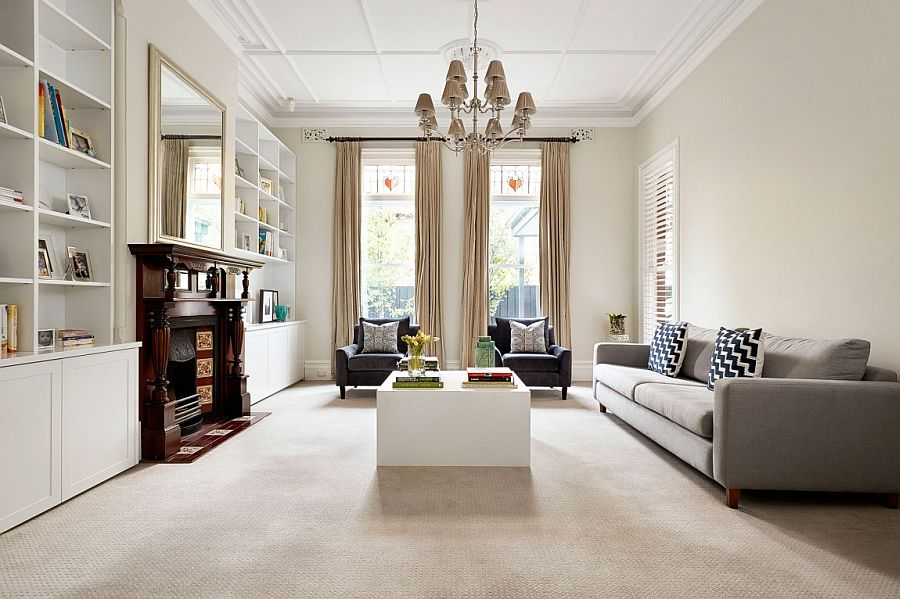 Traditional living room of the Melbourne home with ample natural light