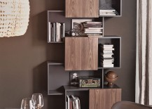 Trendy modern bookshelf unit by Andrea Lucatello with sliding doors