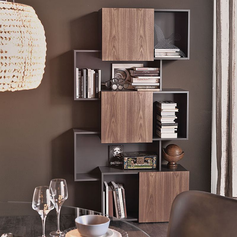Trendy modern bookshelf unit by Andrea Lucatello with sliding doors
