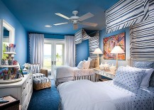 Trendy use of blue in the tropical bedroom