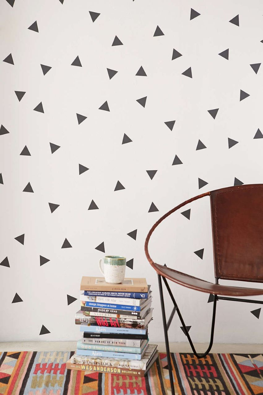 Triangle wall decal set from Urban Outfiters  Easy Wall Decorating Ideas for Renters Triangle wall decal set from Urban Outfiters