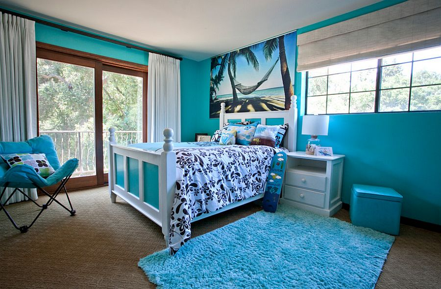 Tropical bedroom draped in delightful, bright blue [Design: Genoveve Serge Interior Design]