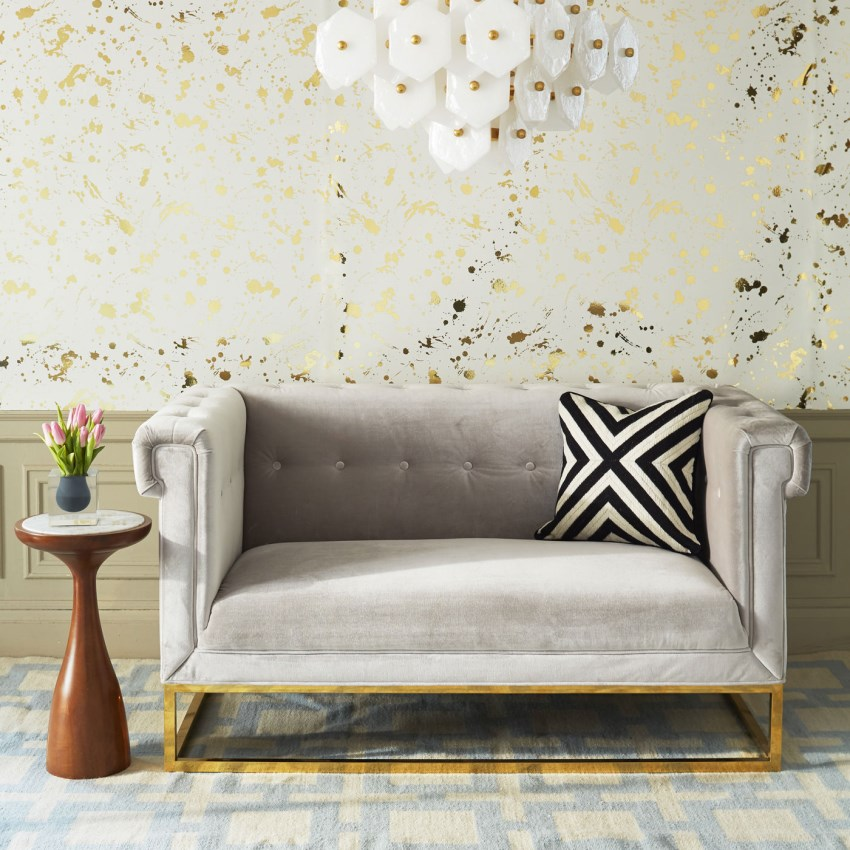 Tufted settee from jonathan adler decoist for Small tufted sofa