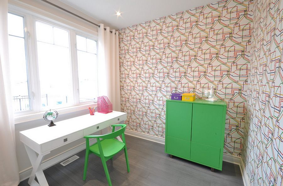... Turn To Wallpaper To Add Some Pattern To The Contemporary Home Office [ Design: Phoenix
