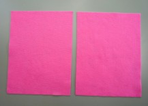 Two pieces of berry pink felt