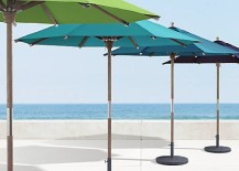 Umbrellas from Restoration hardware 217x155 Shopping for a Freestanding Outdoor Umbrella