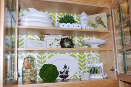 Using wrapping paper to spruce up the inside of kitchen cabinets  8 Low-Cost DIY Ways to Give Your Kitchen Cabinets a Makeover Using wrapping paper to spruce up the inside of kitchen cabinets 270x180