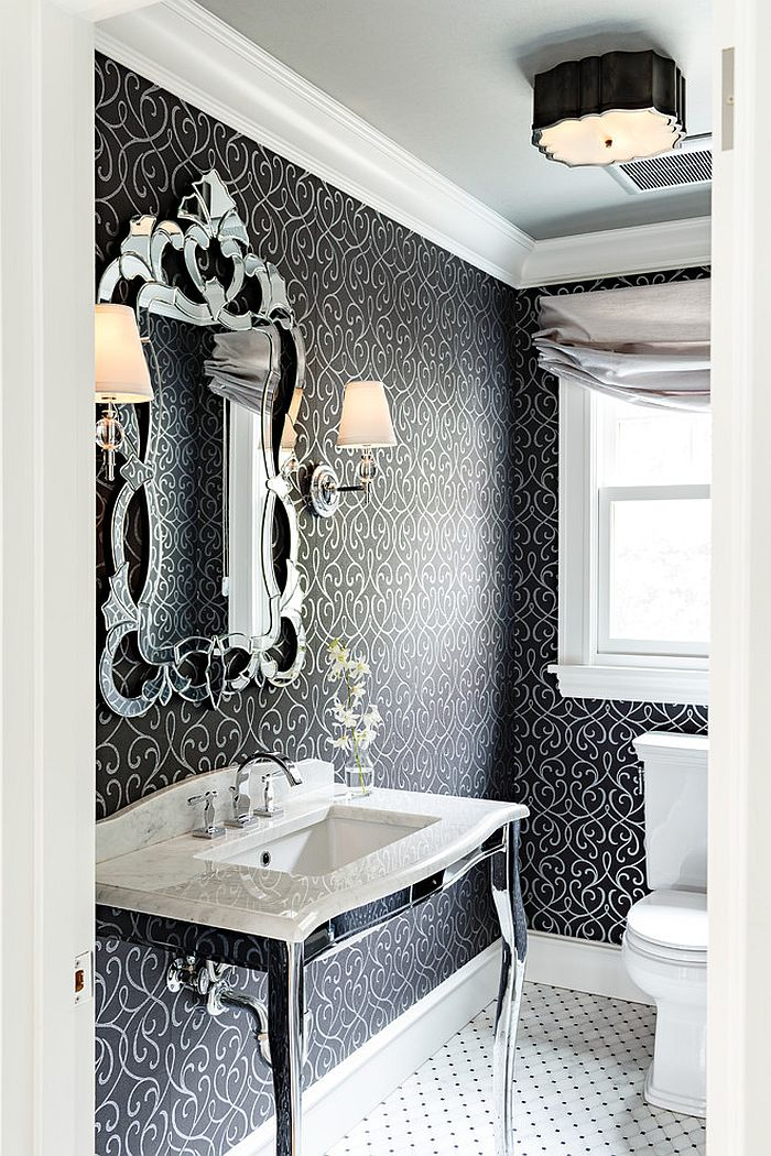 Victorian powder room with unique decor [Design: Mosaik Design & Remodeling]