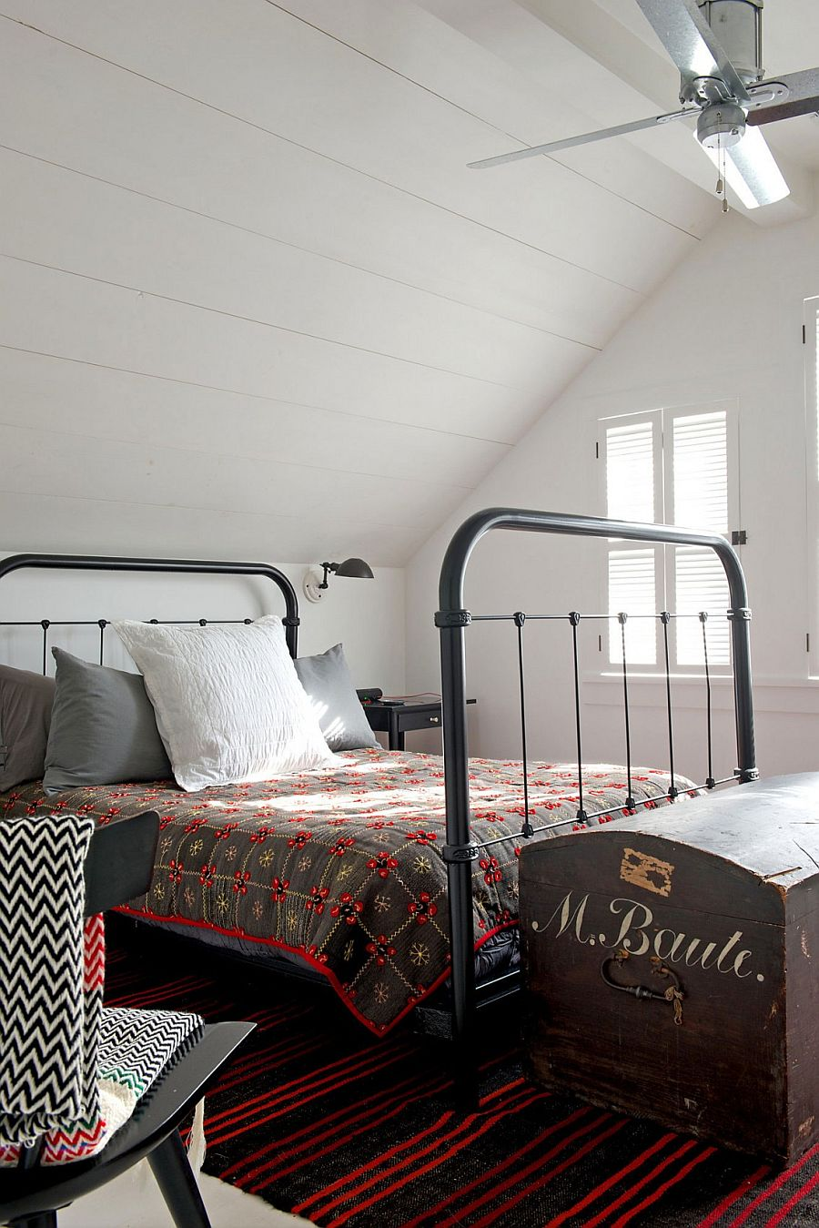 Vintage bedroom design with an iron frame bed
