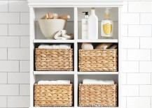Wall cabinet with woven baskets