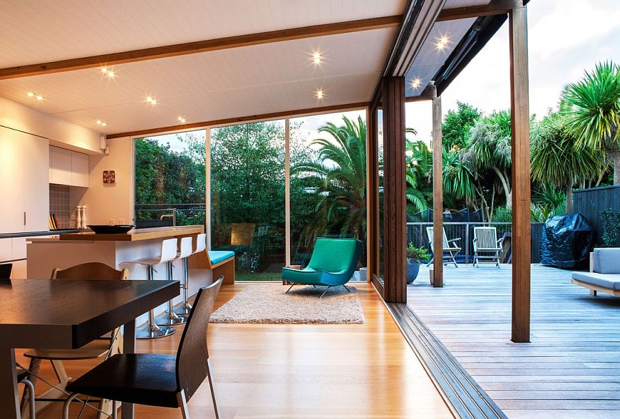 Modern Glass Extensions auckland bungalow with modern glass and timber extension