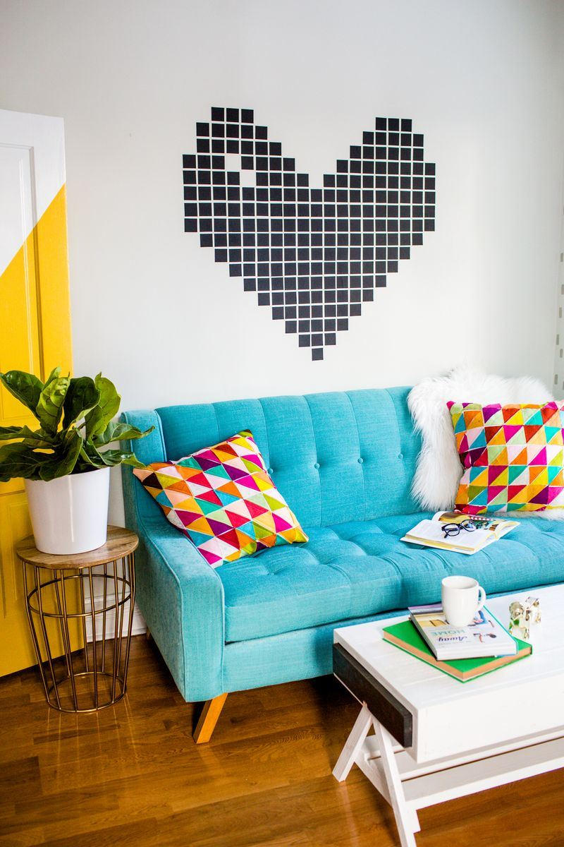Washi tape wall from A Beautiful Mess  Easy Wall Decorating Ideas for Renters Washi tape wall from A Beautiful Mess