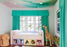Watercolor ceiling ushers in the breezy charm of summer indoors
