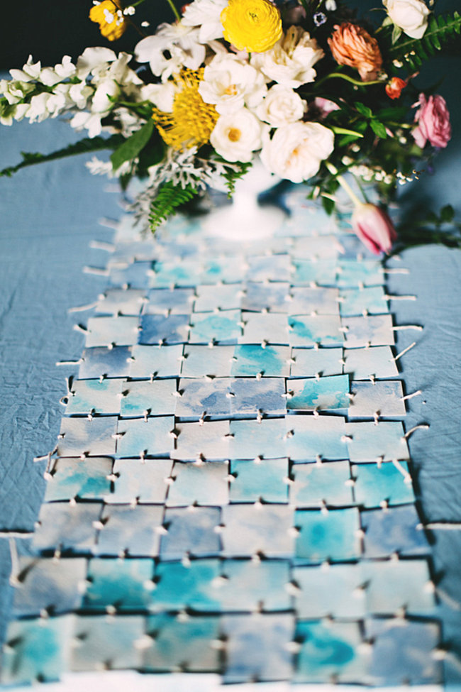 Watercolor table runner from Ruffled