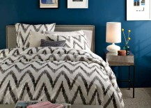 West Elm Organic Cotton Sheets in Ikat against Blue Backdrop