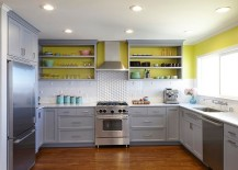 White, gray and sunny yellow in the modern kitchen