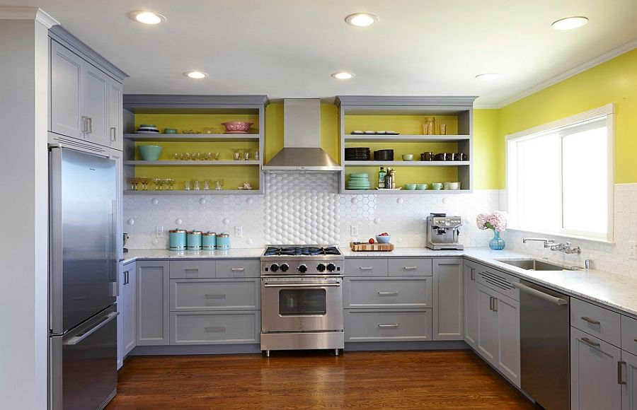 White, gray and sunny yellow in the modern kitchen [Design: Nerland Building & Restoration]