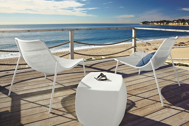 White lounge chairs from Room & Board
