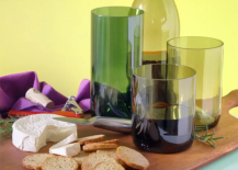 Wine bottles recycled as glasses