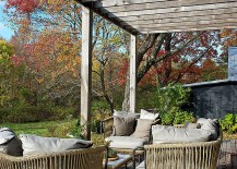 Wooden beams offer shade and give the deck space a sense of uniqueness