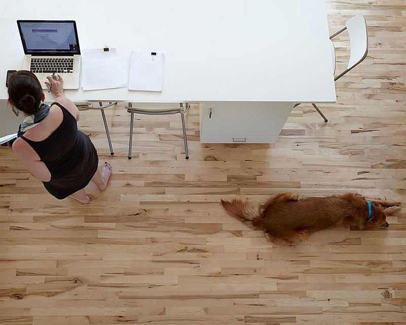 Wooden flooring and custom workstation of the Kansas City Home