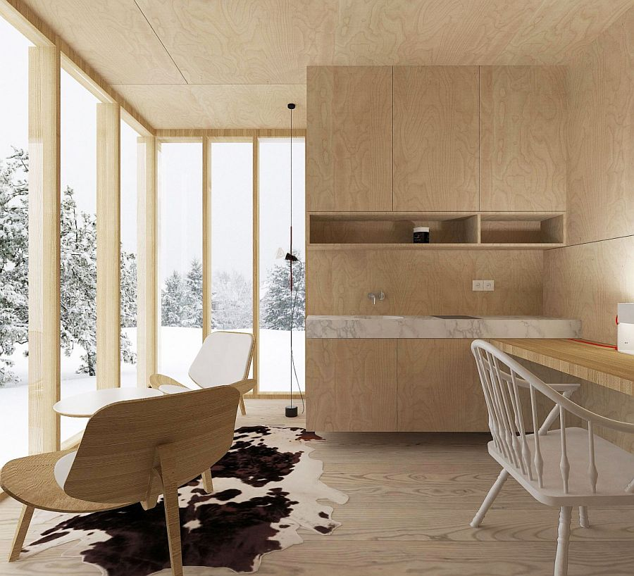 Workspace with wonderful views of the snow covered slopes outside