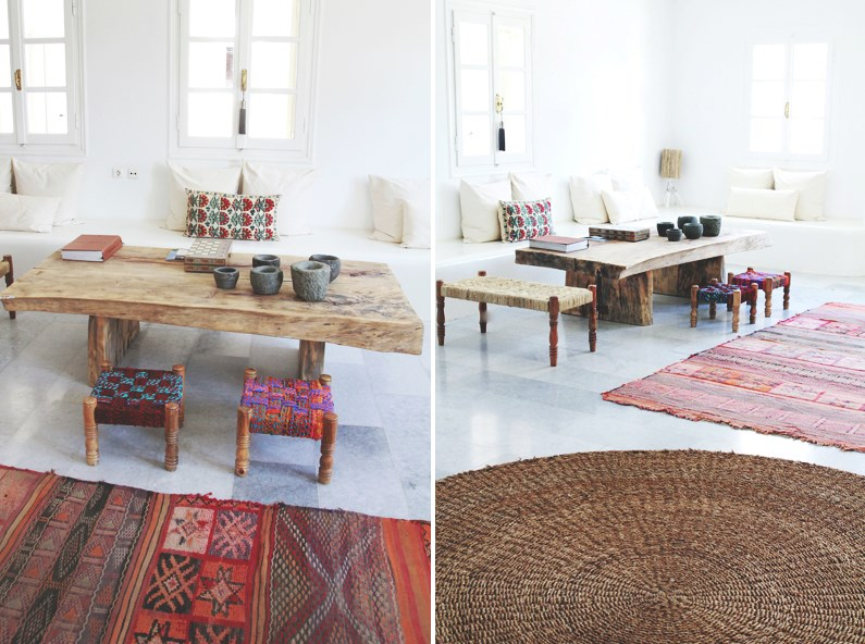 Woven stools add extra seating to a coffee table