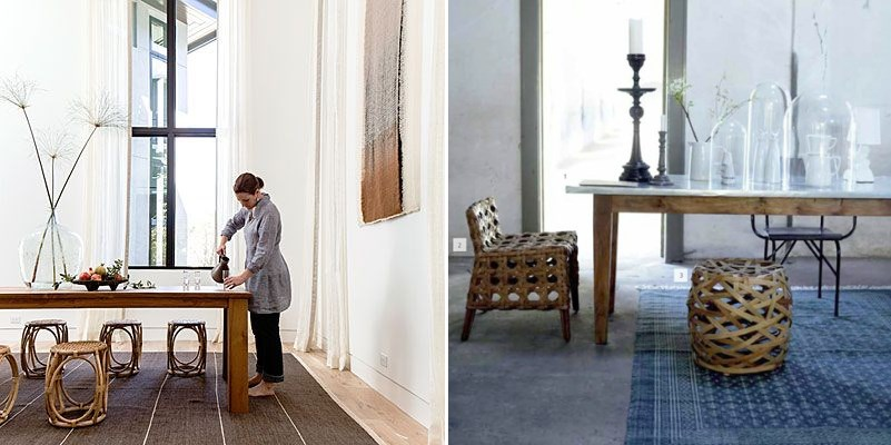 Woven stools add texture to the dining room