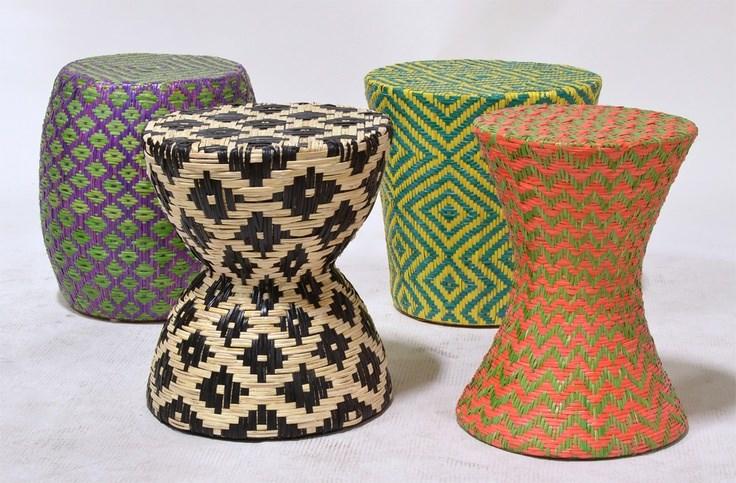 Woven stools by Palecek