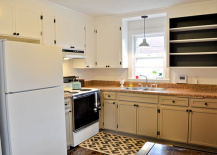 Yellow wood kitchen made over with white paint black interiors