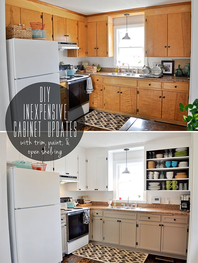 8 low cost diy ways to give your kitchen cabinets a makeover for Painting wood cabinets white before and after