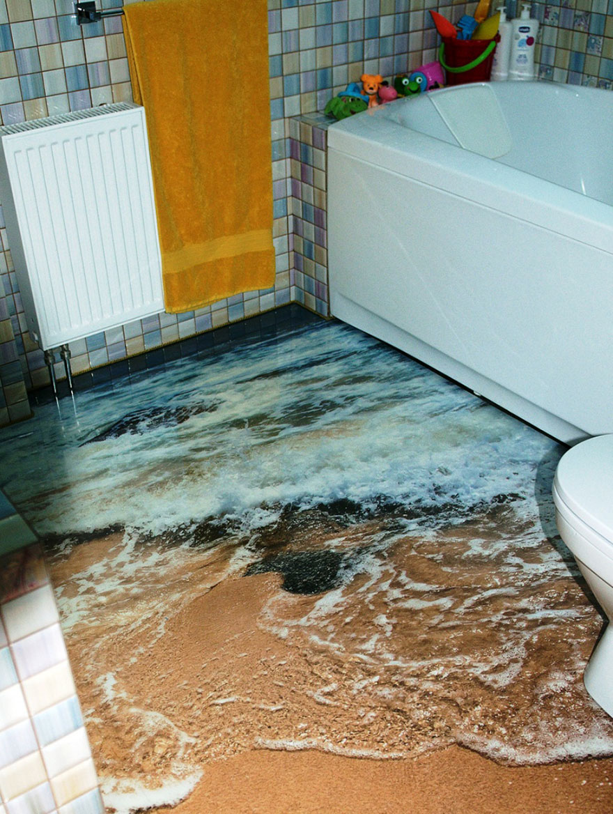 Bathroom with sandy shoreline flooring