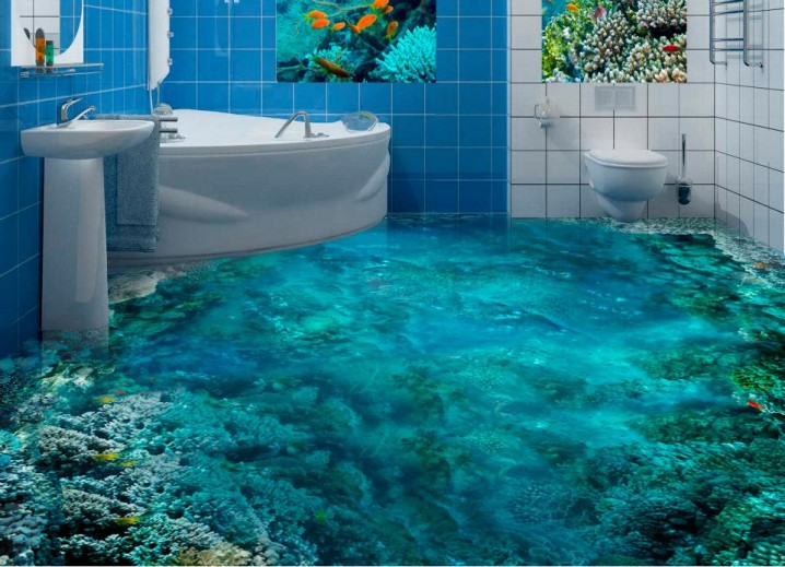 Bathroom with turquoise coral reef flooring