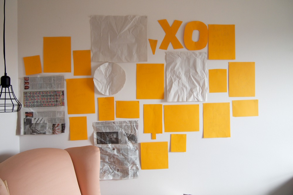 Gallery wall with cutouts