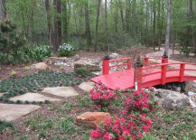 A touch of red for your beautiful garden in the form of a cool garden bridge [Design: Kate Yoklavich]