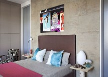 Adding the exposed concrete wall to the eclectic bedroom in style