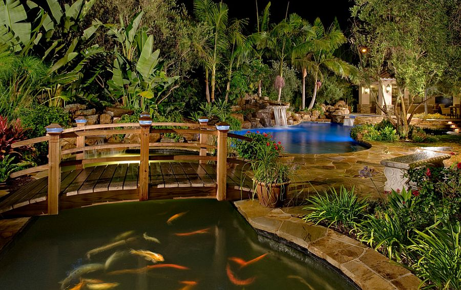 Arched Japanese-style bridges look great even in contemporary backyards [Design: Redwood Garden Bridges]