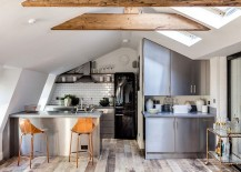 Attic kitchen with skylights and tiled backsplash