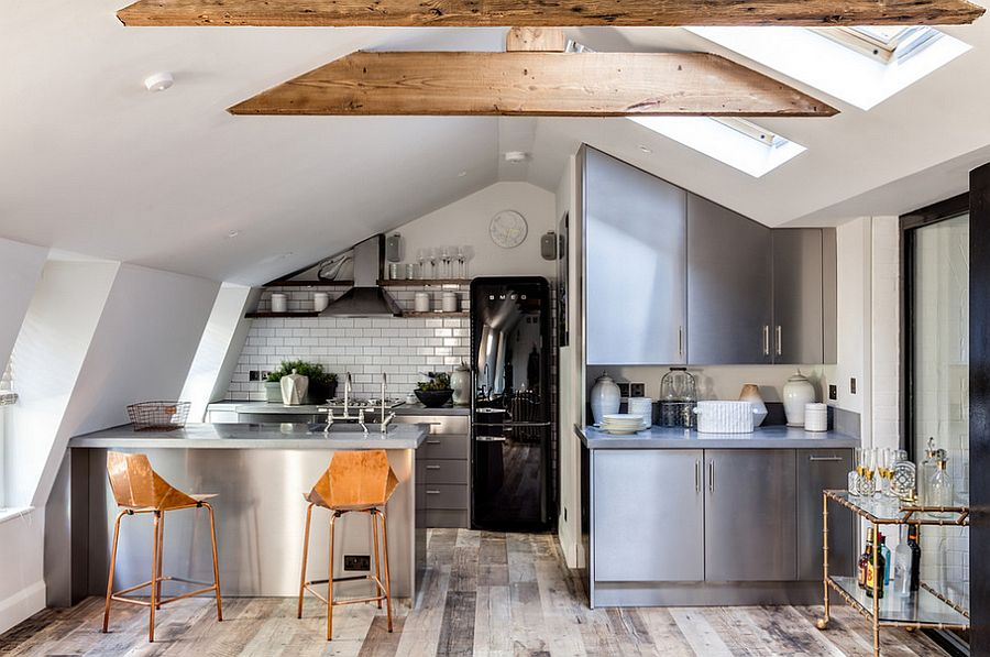 Attic kitchen with skylights and tiled backsplash [Design: Barlow & Barlow Design]