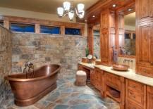 Awesome rustic bathroom with copper bathtub